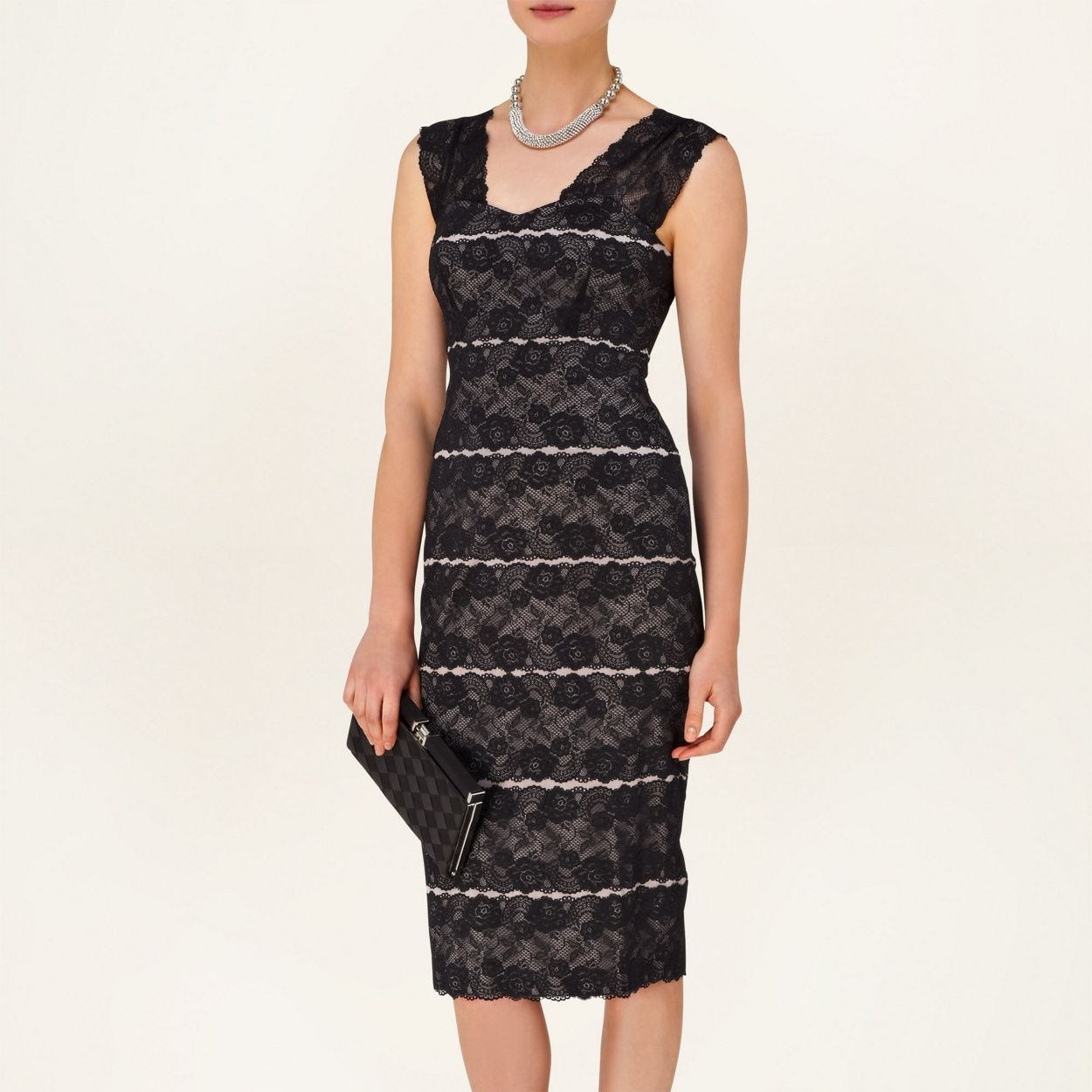 Black dress debenhams - Phase Eight Black And Mink Dahlia Lace Dress At Debenhams Com