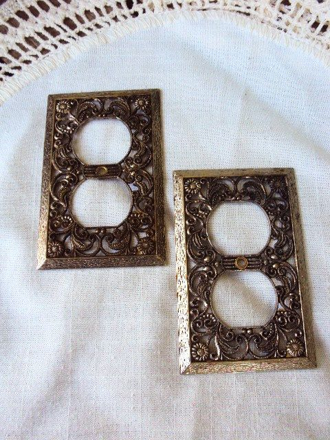 Vintage Metal Outlet Covers Switch Plate Covers Antique Gold Filagree Metal Light Plate Covers Outlet Covers Plate Covers