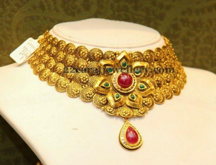 2c7de6ff8caf61 Malabar Gold Fancy Choker | Antique Necklace Jewellery | Gold choker ...