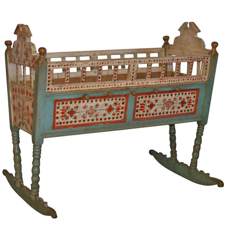 antique original painted baby crib bassinette rocker. Black Bedroom Furniture Sets. Home Design Ideas