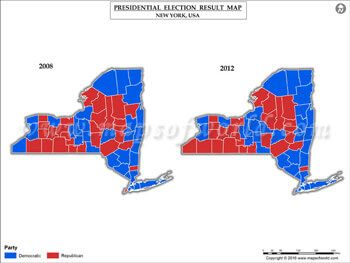 Newyork Election Results Map 2008 Vs 2012 USA Presidents