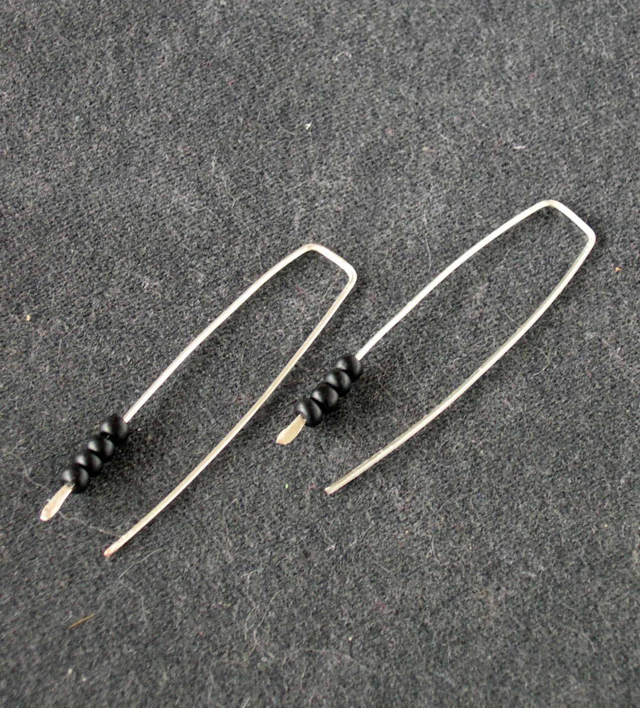 sleek black glass beads on hand crafted square silver wire 20g | My ...