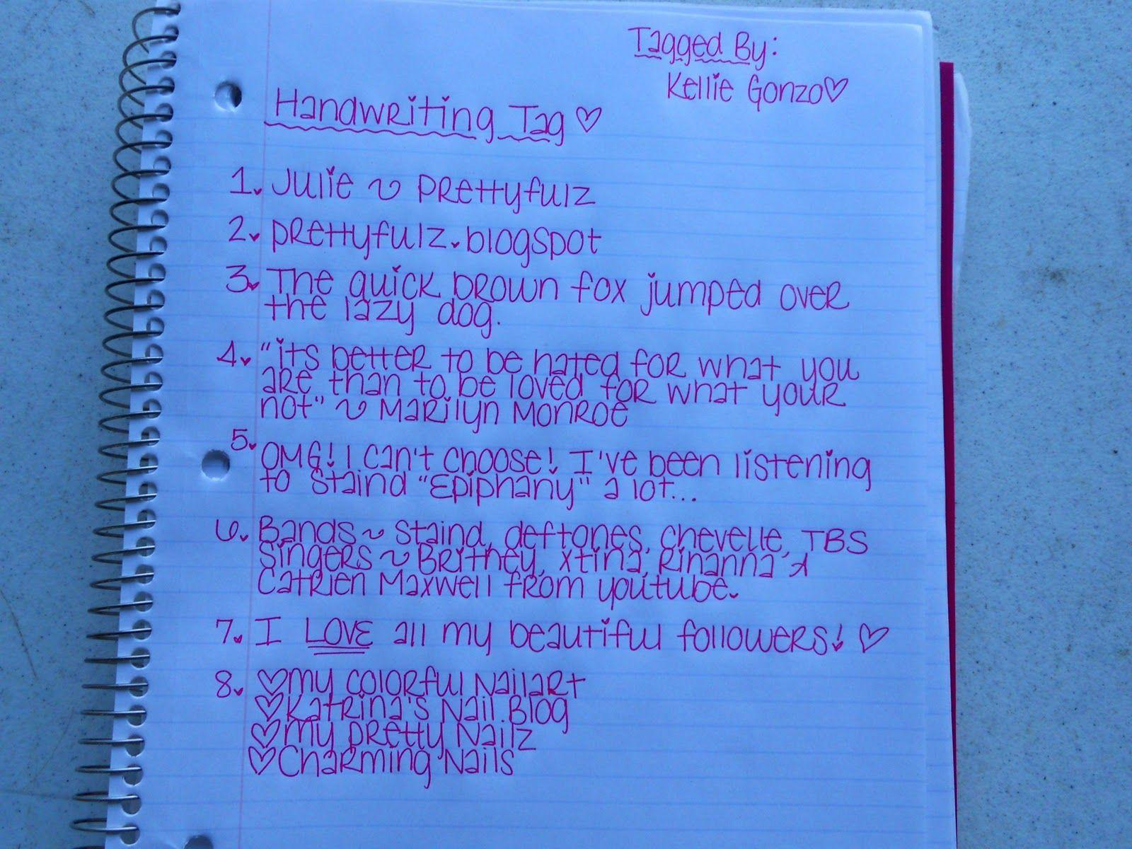Prettyfulz Tagged Handwriting Survey