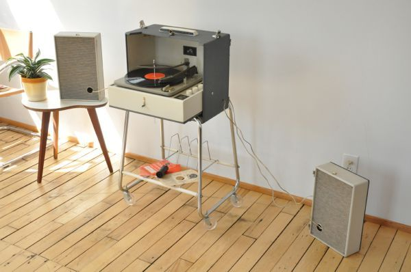 Vintage mid-century RCA portable record player.