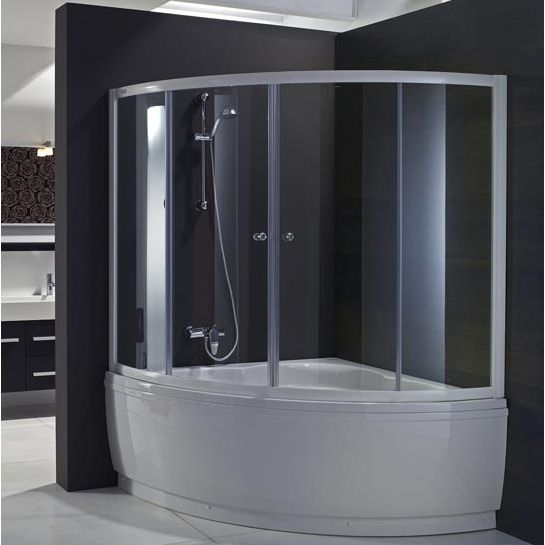 Vasca ad angolo con doccia boiserie in ceramica per bagno for Vasche da bagno con doccia