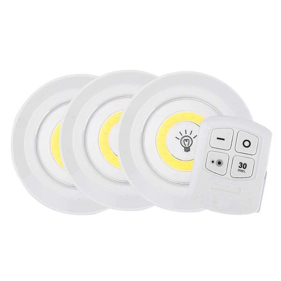 Dimmable 2 LED Closets Lights with Remote Control Operated COB LED Lighting Lamp
