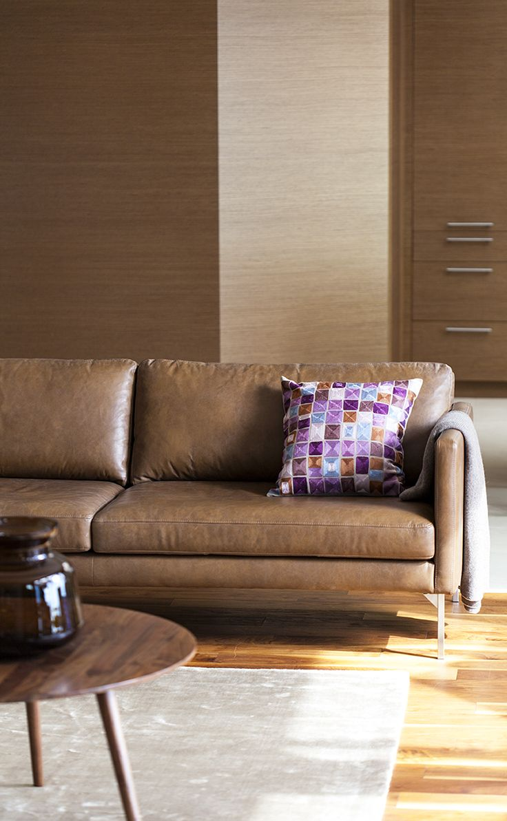 elegant contemporary furniture. Elegant Modern ECHO Sofa.Feather-filled Cognac Full-grain Leather. Yum! Contemporary Furniture