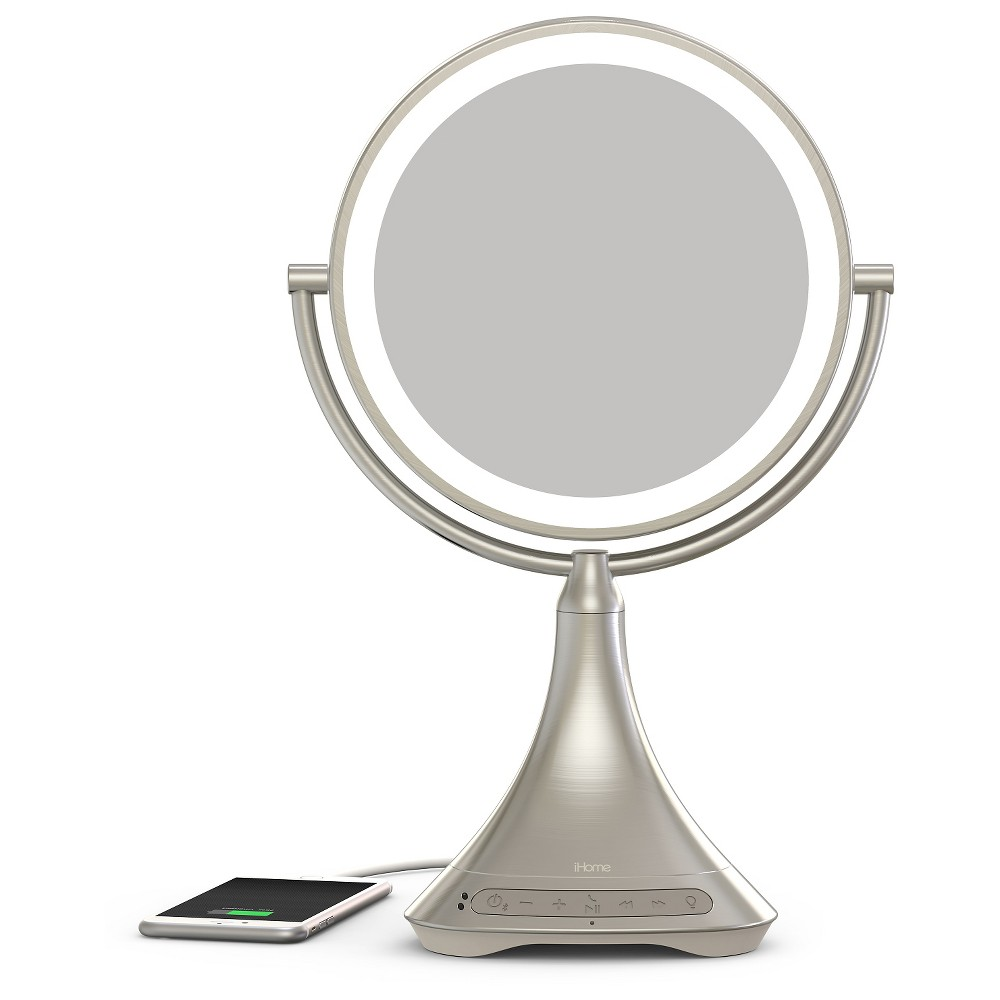 9 Portable And Rechargeable Double Sided Vanity Mirror With Bluetooth Ihome Vanity Mirror Led Makeup Mirror Portable Mirror