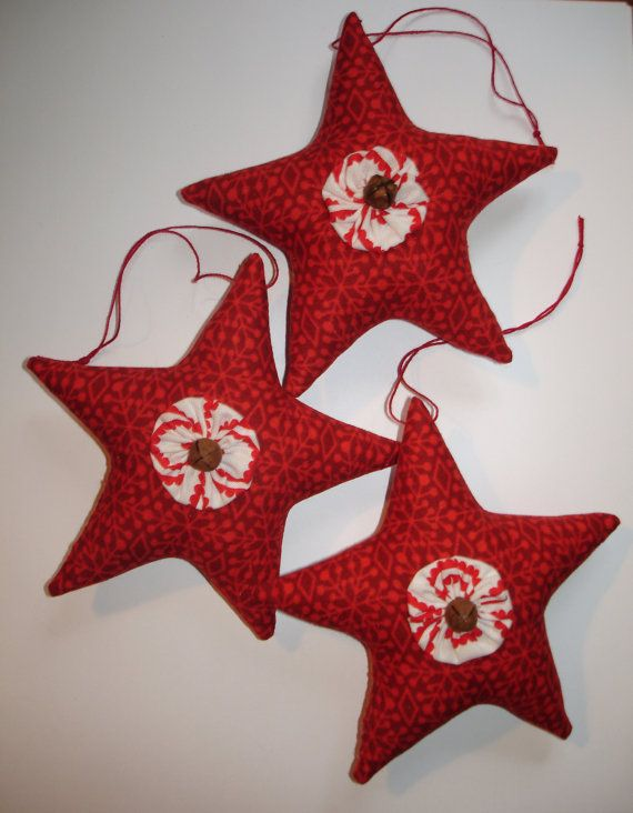 Set of 3 Red Clloth Star Ornaments with Yo-yos and Rusty Jingle