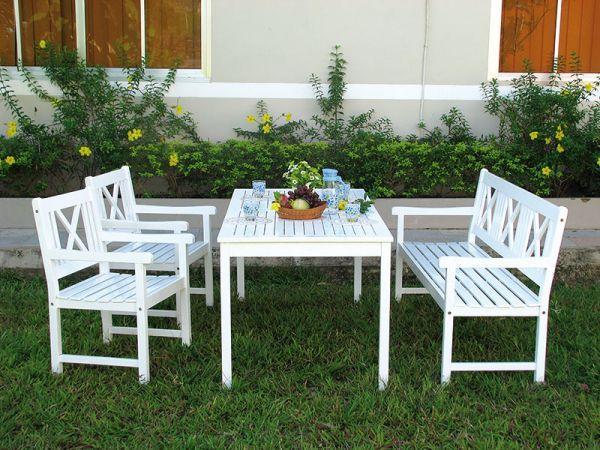 Holz Gartenmobel Tischgruppe Malmo Weiss Gartenstuhle Gartensessel Gartentisch