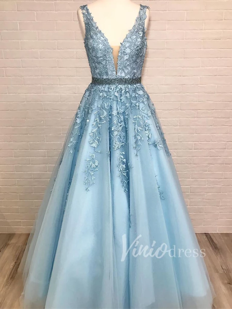 Classy Light Blue Lace Long Prom Dresses for Juniors FD6  Prom