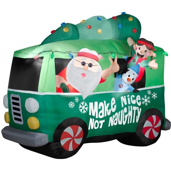 Cheap Inflatable Yard Decorations: Airblown® Santa In Hippie Van