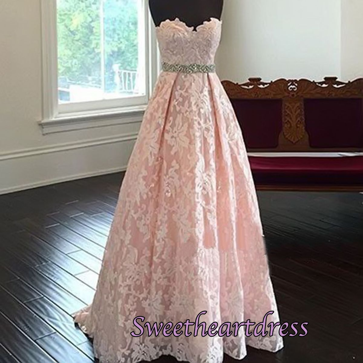 2016 pretty pink lace long prom dress, homecoming dress for teens ...