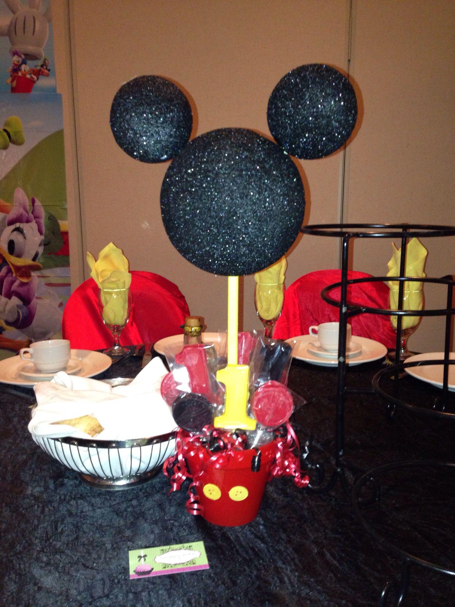 Mickey Mouse Custom Center Piece With Chocolate Sucker