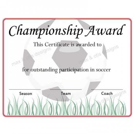 Printable Soccer Championship Award Certificate Downloadable Pdf