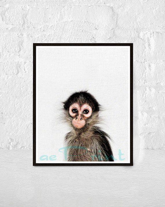 Baby Monkey Print Nursery Animal Wall Art Safari Decor by aePrint