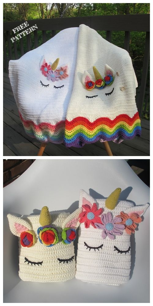 Unicorn Baby Blanket Free Crochet Patterns (With images ...
