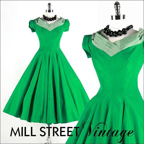 Vintage 1950s Dress Emerald Green Taffeta Full Skirt Ruche