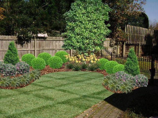 corner landscaping designs | Fence landscaping ... on Backyard Landscaping Along Fence id=86842