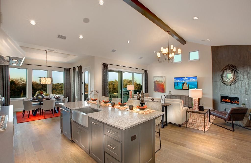 kitchen, family room and dining area; the parkhill floor plan