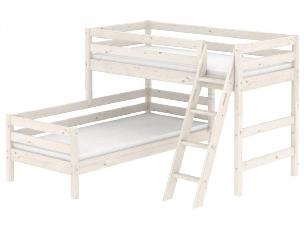 Flexa Classic Kombi Etagenbett mit schräger Leiter Weiß