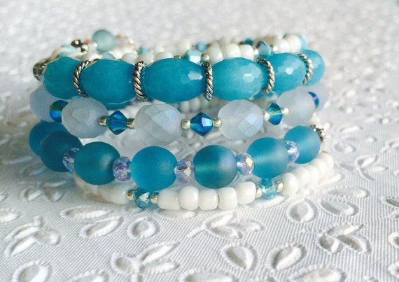 Shades of Mykonos Blue&White memory wire wrap bracelet by R2Bead2