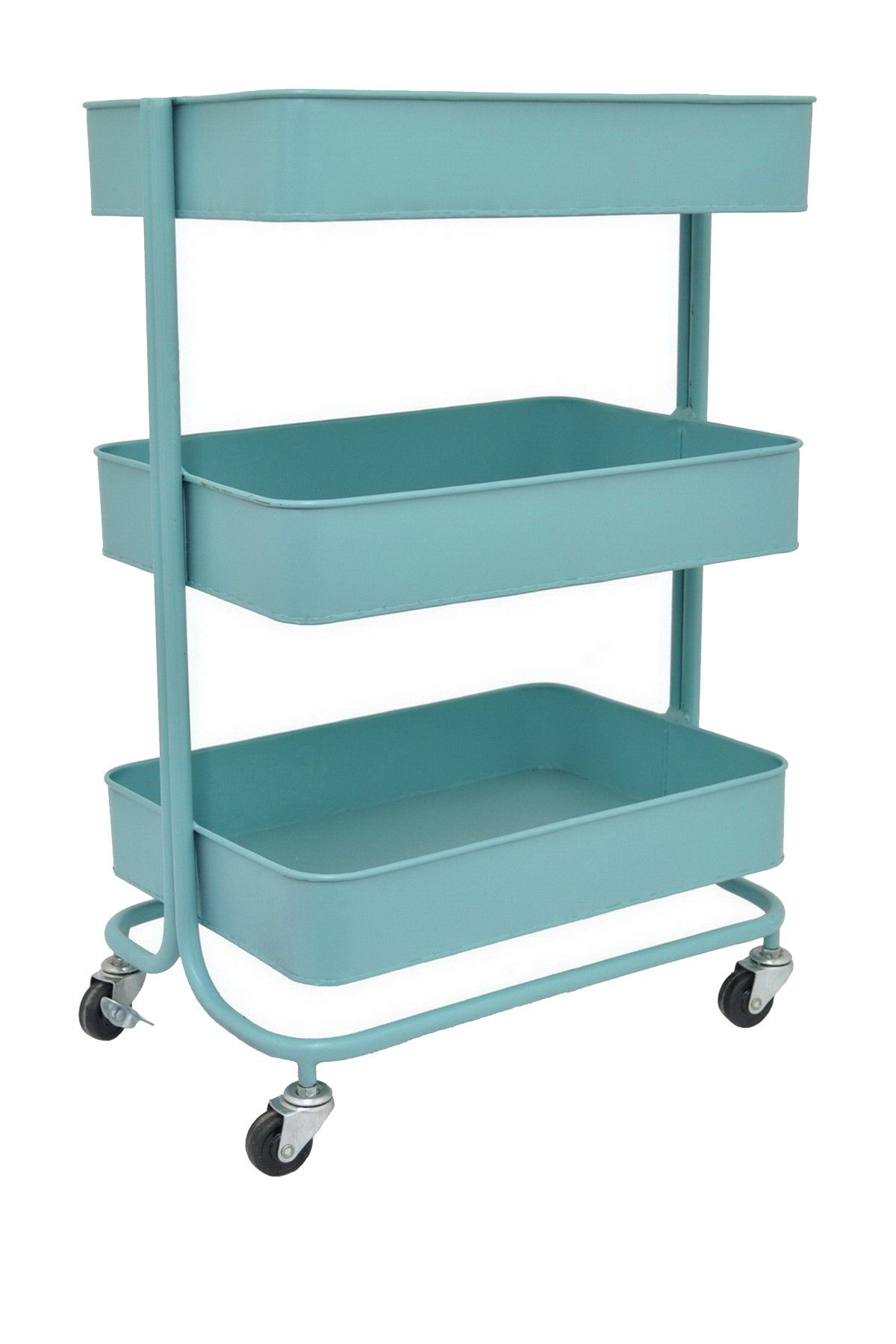 Blue Metal Tray Stand | I can see it as a nightstand, as an entry ...
