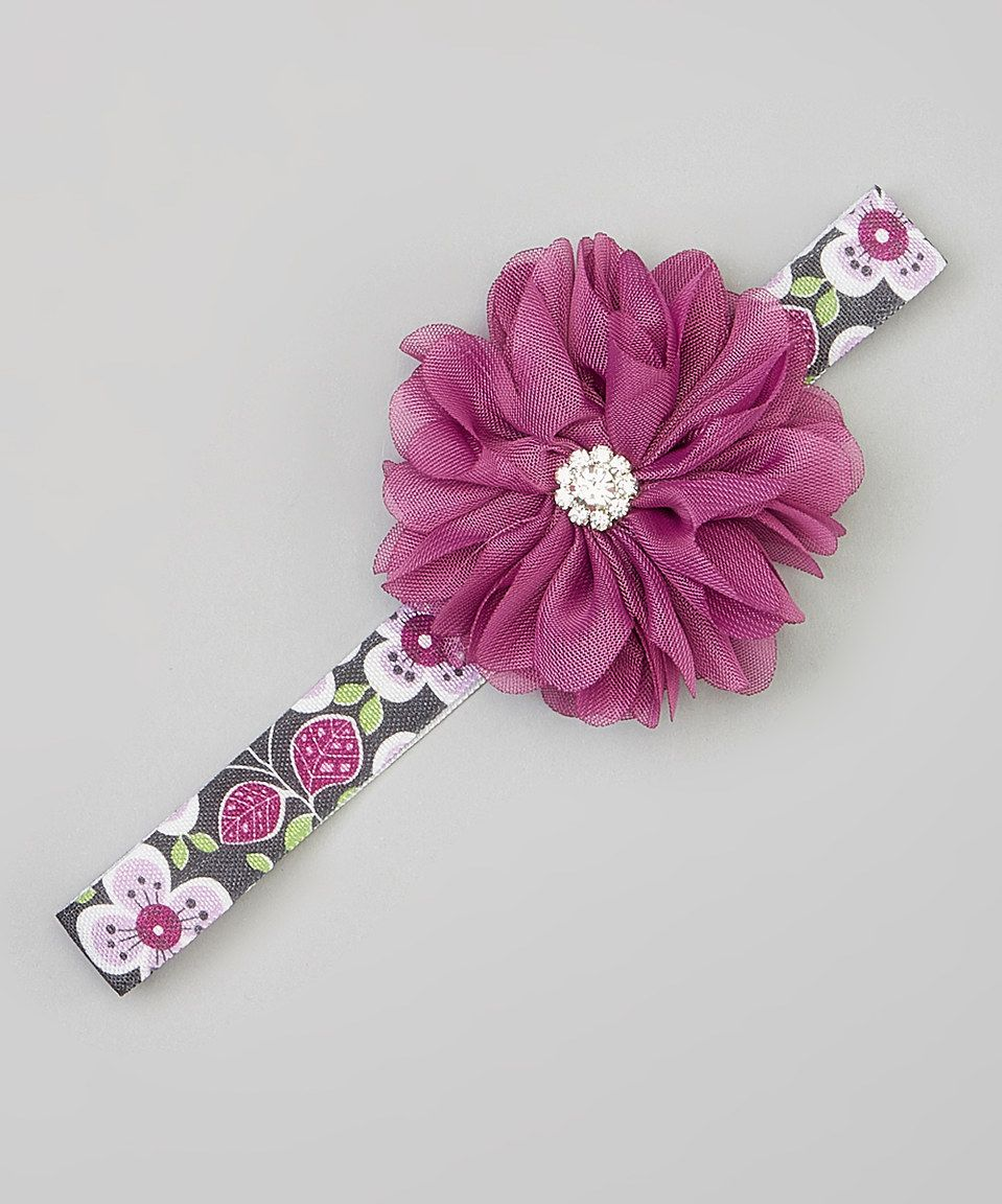Charlotte Rose Couture Purple Rhinestone Flower Headband Flower