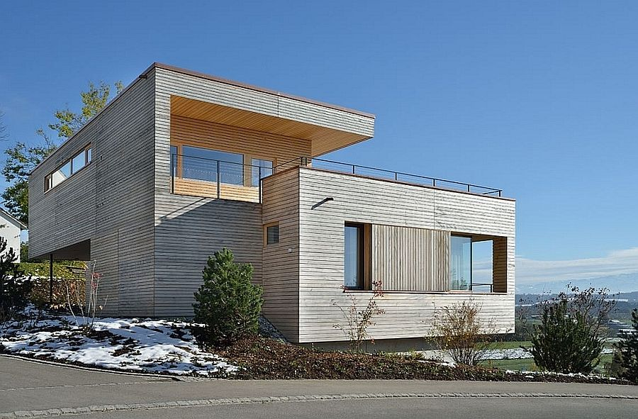 Wonderful Stunning Mountain Views And A Wood Clad Interior Shape Modern Swiss Home