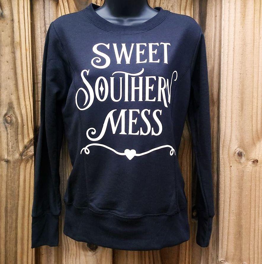 Women S Quot Sweet Southern Mess Quot Black Graphic Sweat Shirt