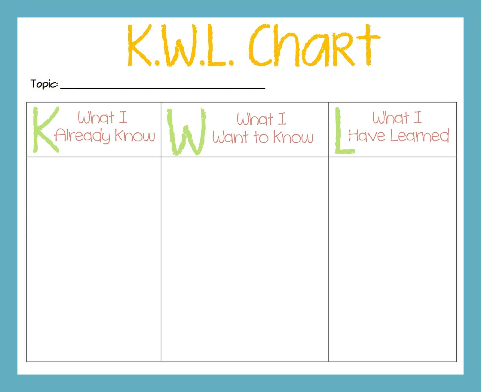 Kwl Chart  Teacher Stuff    Chart School And Teaching