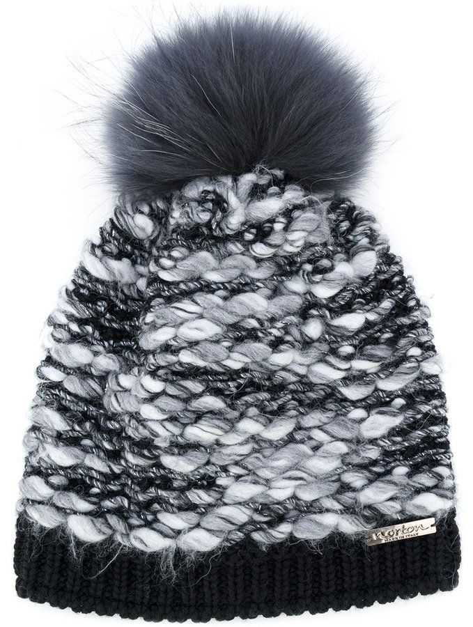 43fad2547e3 Norton Co. racoon fur pom pom textured hat