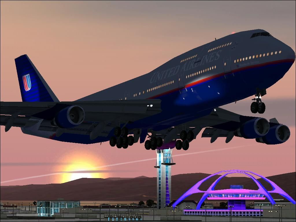 A United Boeing 747 Takes Of From Lax Airplanes