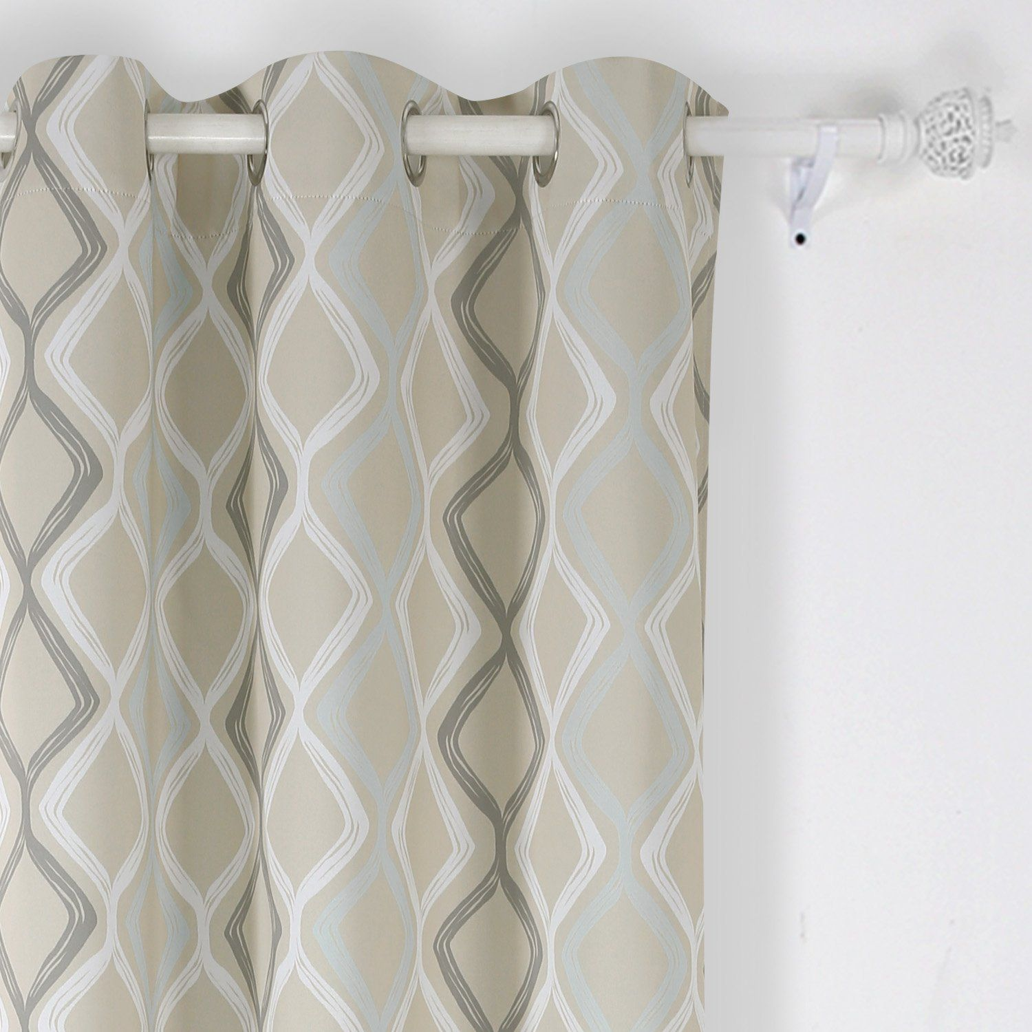 Deconovo grommet top curtains decorative wave printed thermal