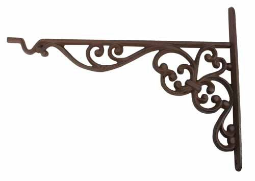 "Brace 9/"" x 9/"" Set of 8 Extra Large Cast Iron Expresso Scroll Shelf Bracket"