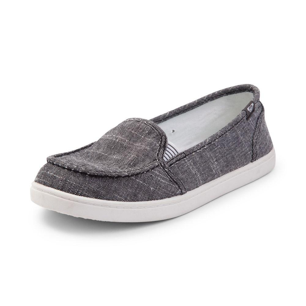 0e07cd5a641 Womens Roxy Minnow Slip On Casual Shoe - Black - 468447