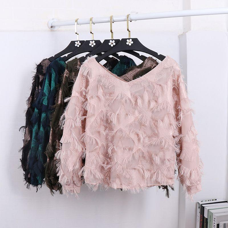 Plumas de imitación cuello en v borla blusas 2018 Primavera verano mujer  hermosa blusa camisas moda de Nueva tops femme en Blusas y camisas de Moda  y ...