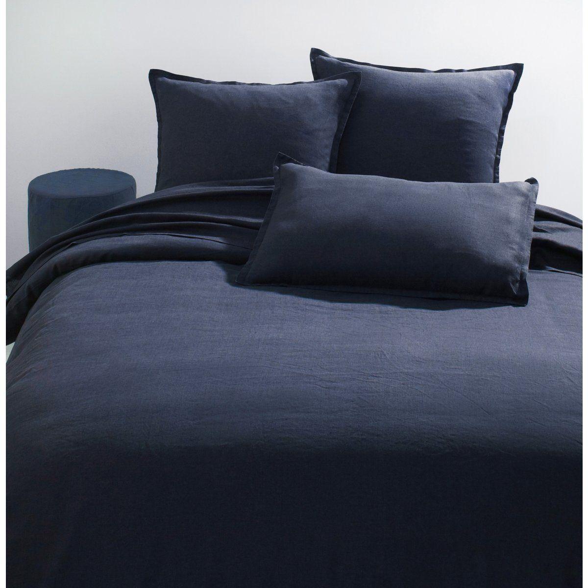 taie d 39 oreiller pur lin lav elina am pm la redoute bleu encre p15b 0113 pinterest. Black Bedroom Furniture Sets. Home Design Ideas