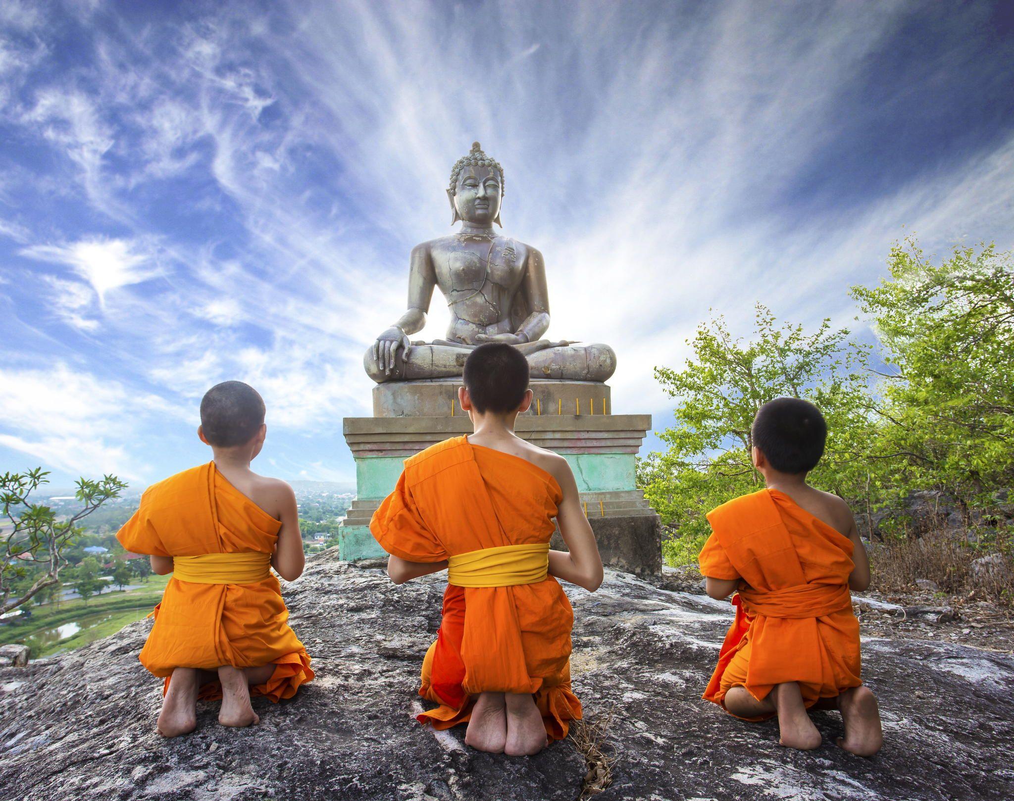 Novice Monk praying to the Buddha by Sasin Tipchai - Photo ...