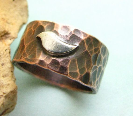Forged Copper Ring - Bird Ring - Copper And Sterling Silver Bird Ring - Mixed Metal Ring - Rustic Jewelry - Size 4 - 14 Unisex Ring