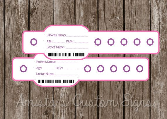 image regarding Hospital Bracelet Printable called PRINTABLE Health care provider or Healthcare facility Fake Wristbands for Filled