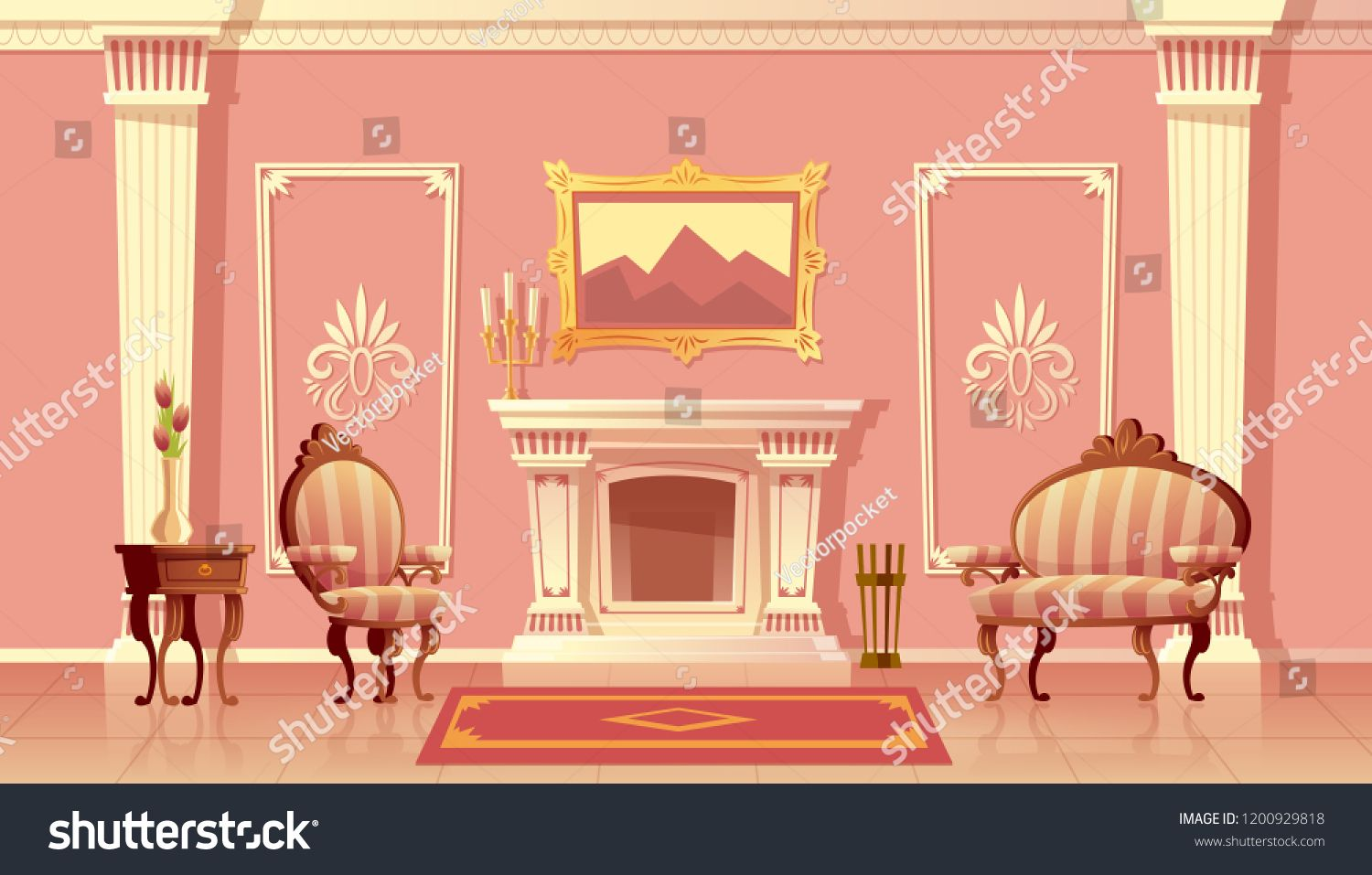 Vector Cartoon Illustration Of Luxury Living Room With Fireplace