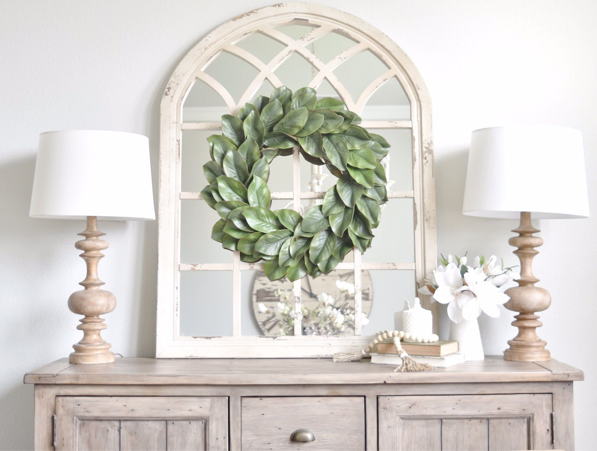 Large Arched Window Pane Mirror
