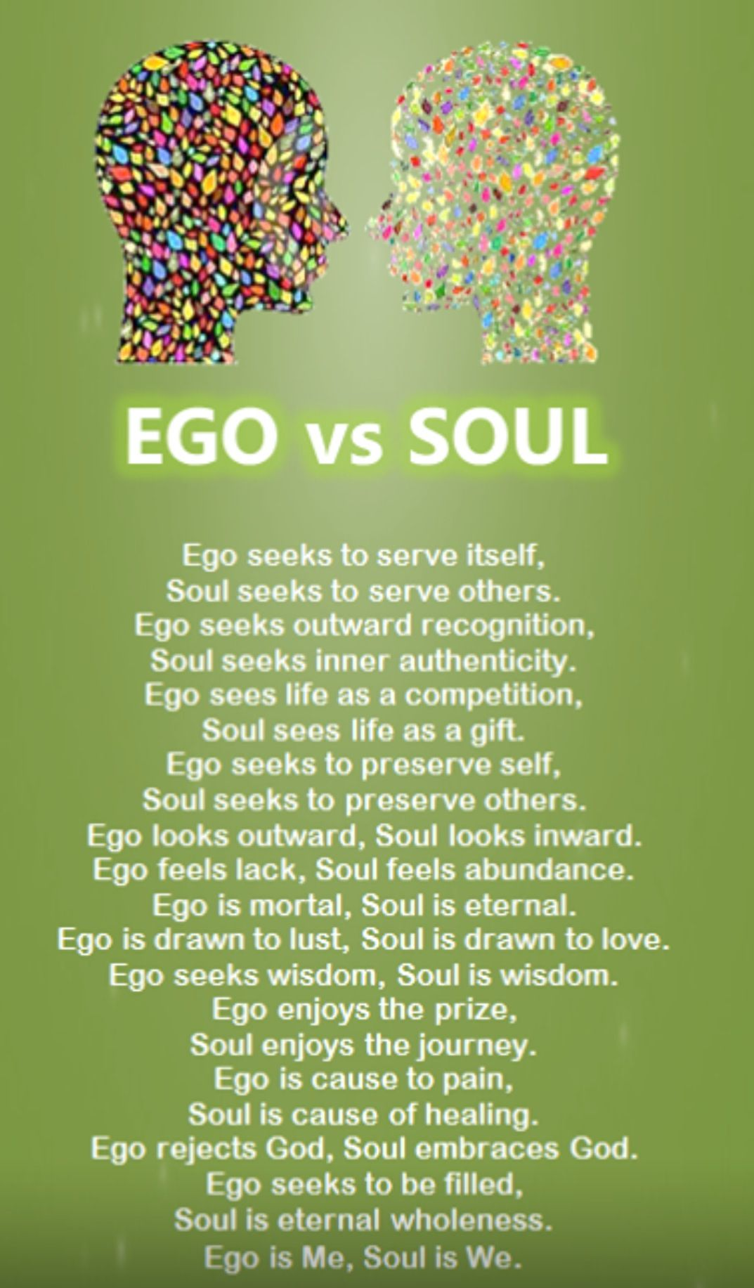 Ego vs. Soul Live this. I love this. besoulful  \u00a1Notably