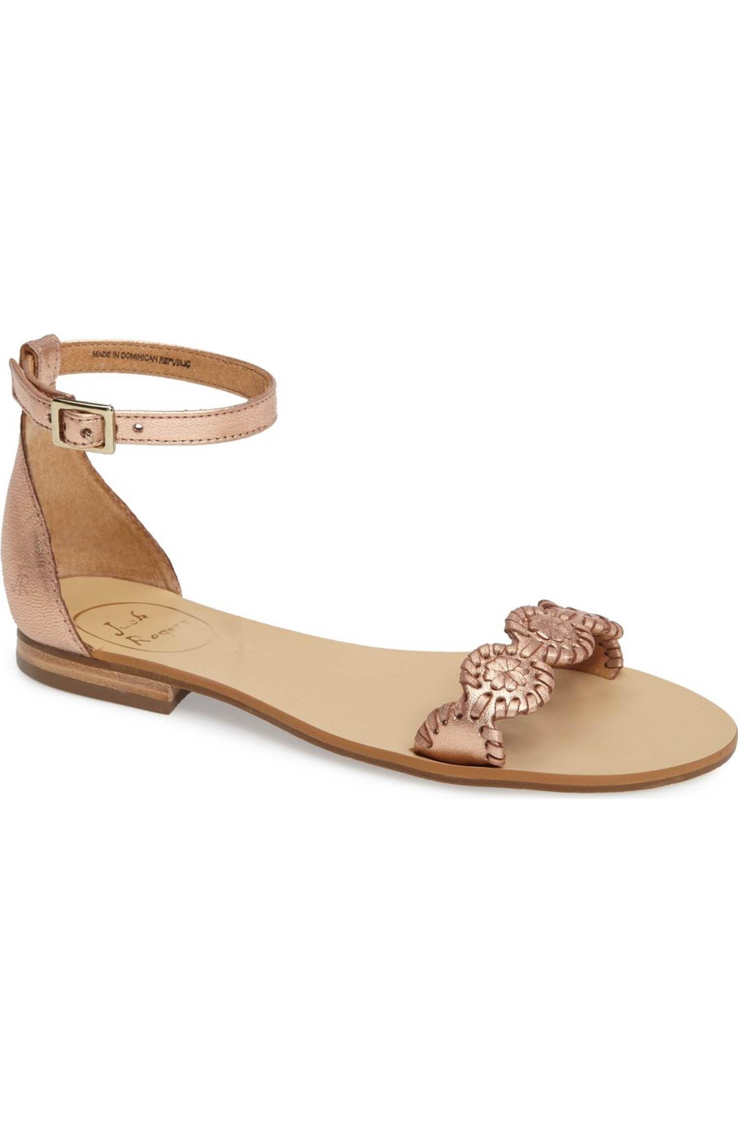 db74943f2d836 Jack Rogers Daphne Medallion Flat Sandal rose gold leather ankle strap   127.95