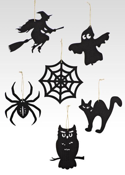classic halloween icon ornaments black silhouette spider witch on a broomstick owl - Black Cat Silhouette Halloween