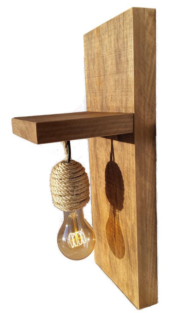 L mpara r stica de madera maciza y cuerda iluminaci - Lamparas de pie rusticas de madera ...