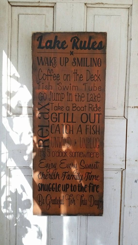 Wooden Decor Signs Delectable Lake Rules Sign For Up At The Cabin Decor Wooden Sign For Family Design Inspiration