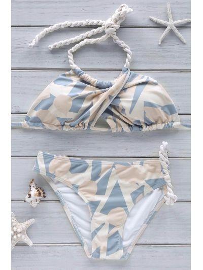 Halter Printed Crossover Bikini