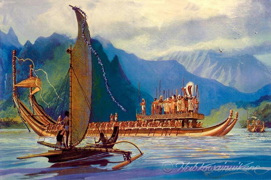 tahitian war canoe by herbert quot herbquot kawainui k�ne